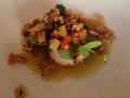 Marulk, torkade rotfrukter, brynt smör, krasse, portlak